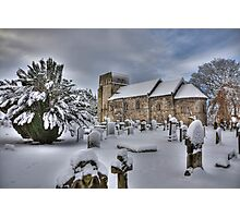 St Cuthbert's in the snow Photographic Print