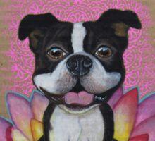 Zen Boston Terrier - Lotus Flower Sticker