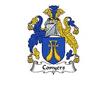 Coat of arms (family crest) for last-name or surname Conyers . Heraldry banner for your name. Photographic Print