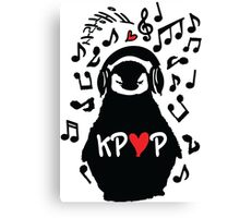 Penguin listen to kpop Canvas Print