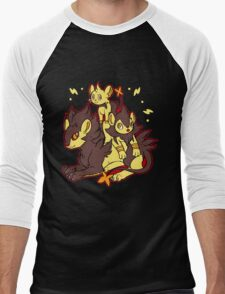 Pile of Electric Lions (Shiny Version) Men's Baseball ¾ T-Shirt