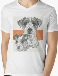 Jack Russell Terrier, rough coat, Father & Son Mens V-Neck T-Shirt