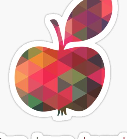 Geometric Apple, Live Love Teach Sticker