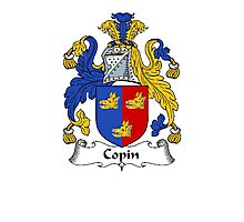 Coat of arms (family crest) for last-name or surname Copin . Heraldry banner for your name. Photographic Print