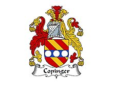 Coat of arms (family crest) for last-name or surname Copinger . Heraldry banner for your name. Photographic Print