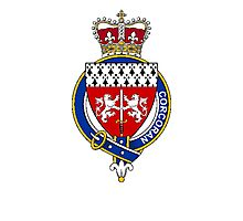 Coat of arms (family crest) for last-name or surname Corcoran (Ireland) . Heraldry banner for your name. Photographic Print