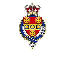 Coat of arms (family crest) for last-name or surname Crane (Scotland) . Heraldry banner for your name. Photographic Print