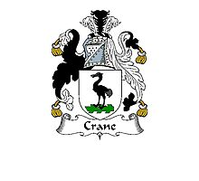 Coat of arms (family crest) for last-name or surname Crane I . Heraldry banner for your name. Photographic Print