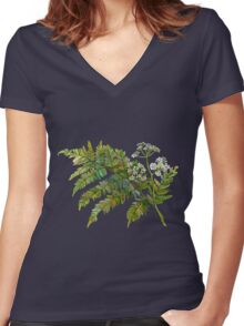 Watercolor fern and flowers Women's Fitted V-Neck T-Shirt