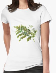 Watercolor fern and flowers Womens Fitted T-Shirt