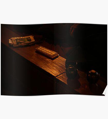 Bench in Tengboche Monastry Poster