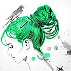 girl with green hair & bird by Loui  Jover