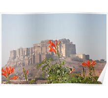 Flower in front of Jodhpur Fort Poster