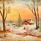 Winter Sunset, Pastel by Sorin Apostolescu