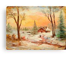 Winter Sunset, Pastel Canvas Print