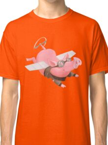 Flying Pig with Propeller Tail and WWII Bomber Jacket Classic T-Shirt