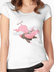 Flying Pig with Propeller Tail and WWII Bomber Jacket Women's Fitted Scoop T-Shirt