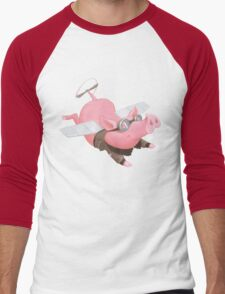 Flying Pig with Propeller Tail and WWII Bomber Jacket Men's Baseball ¾ T-Shirt