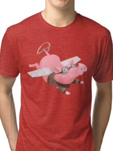 Flying Pig with Propeller Tail and WWII Bomber Jacket Tri-blend T-Shirt