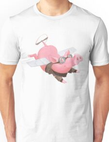 Flying Pig with Propeller Tail and WWII Bomber Jacket Unisex T-Shirt