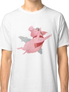 Joyful Flying Pink Pig with Red Scarf Classic T-Shirt