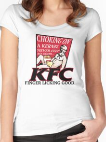 KFC: CHOKING ON A KERNEL Women's Fitted Scoop T-Shirt