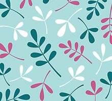 Assorted Leaf Silhouettes Teals Pink White by NataliePaskell