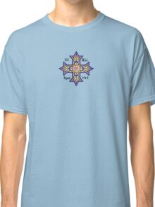 Coptic Orthodox Cross with text on blue Classic T-Shirt
