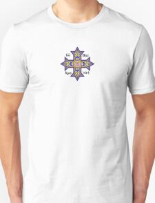 Coptic Orthodox Cross with text on blue Unisex T-Shirt