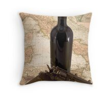 Revolver and wine on map of Italy Throw Pillow