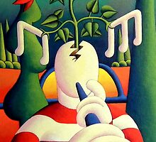Creative musician in softscape with emerging flowers by Alan Kenny