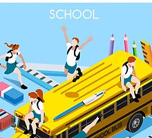 School Bus and Chancellery Set by aurielaki