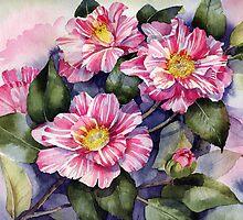 Striped Camellia by artbyrachel