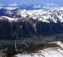 Chamonix valley and the Aiguilles Rouges by Linda More
