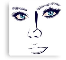 Lineart Girl Face Canvas Print