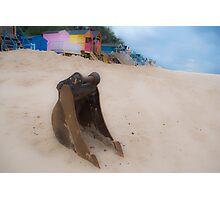 Bucket, sand, no spade. Photographic Print