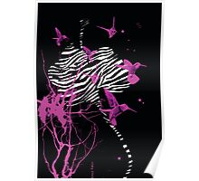 Zebra Orchid Digital Illustration Poster