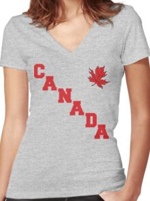 Canada Maple Leaf Women's Fitted V-Neck T-Shirt