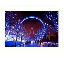 Christmas time at the London eye Art Print