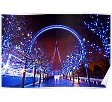 Christmas time at the London eye Poster