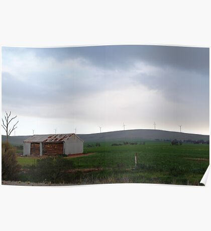 Wind farm and old farm Poster