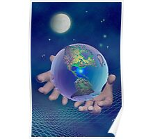 Hands holding the world Poster