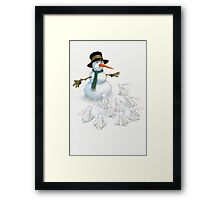 Snowman with Carrot Nose Facing Hungry Bunnies Framed Print