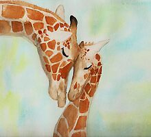 Watercolor Giraffes by AstralKepeire