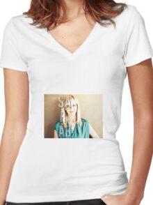 Sarah Michelle Gellar Women's Fitted V-Neck T-Shirt