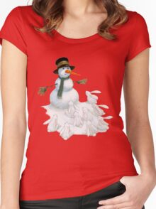 Snowman with Carrot Nose Facing Hungry Bunnies Women's Fitted Scoop T-Shirt