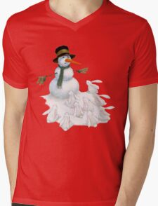 Snowman with Carrot Nose Facing Hungry Bunnies T-Shirt