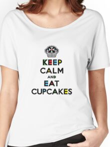 Keep Calm and Eat Cupcakes - mondrian  Women's Relaxed Fit T-Shirt