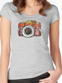 Patchwork Camera Women's Fitted Scoop T-Shirt