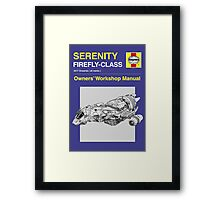 Serenity - Owners' Manual Framed Print